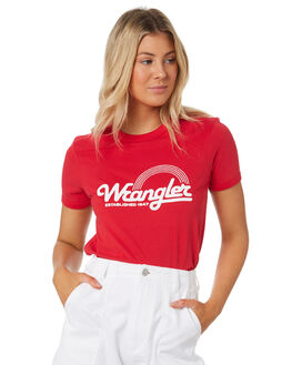 VINTAGE RED WOMENS CLOTHING WRANGLER TEES - W-951606-358