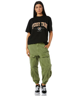 BLACK WOMENS CLOTHING STUSSY TEES - ST195003BLK