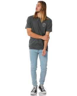 BLACK ACID WASH MENS CLOTHING AFENDS TEES - M183004BAW