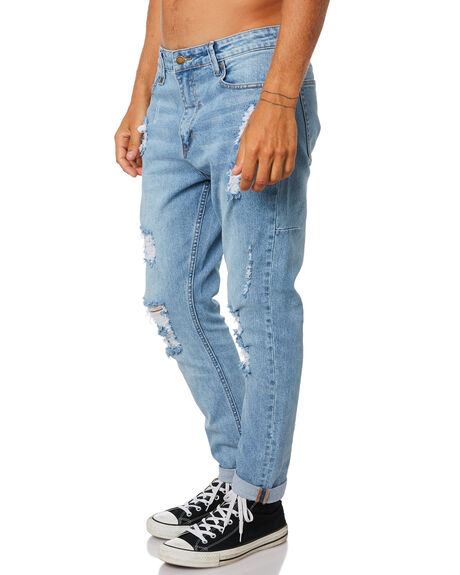 STONED BLUE MENS CLOTHING THRILLS JEANS - TDP-418SESBLUE