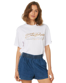 WHITE WOMENS CLOTHING STUSSY TEES - ST183013WHI