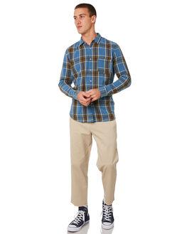 INDIGO PLAID MENS CLOTHING BARNEY COOLS SHIRTS - 308-CR3IPLD