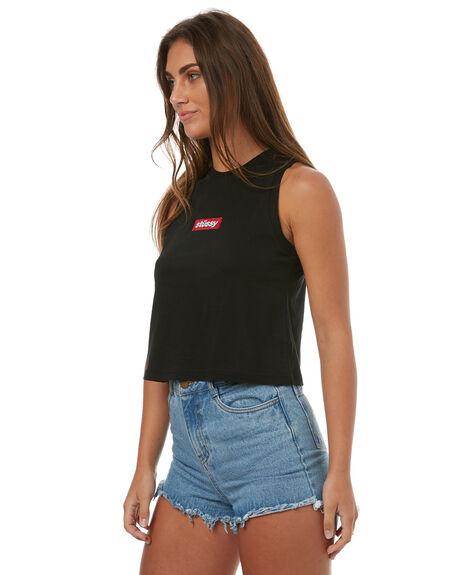 BLACK WOMENS CLOTHING STUSSY SINGLETS - ST173037BLK