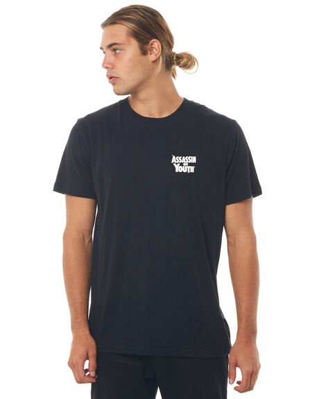 BLACK MENS CLOTHING AFENDS TEES - M181011BLK