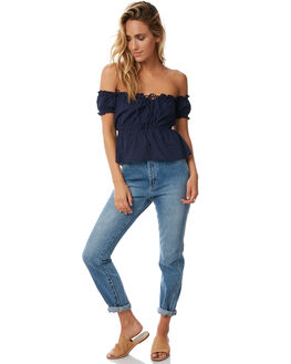 SOLID NAVY WOMENS CLOTHING RUE STIIC FASHION TOPS - S118-97NVY