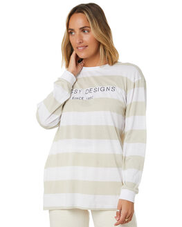 CEMENT STRIPE WOMENS CLOTHING STUSSY TEES - ST106006CMTST