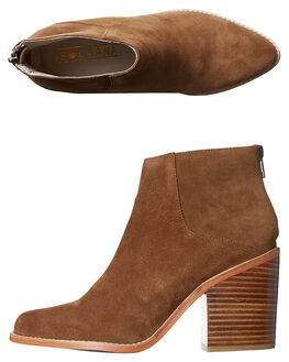 COGNAC SUEDE WOMENS FOOTWEAR SOL SANA BOOTS - SS171W487COG