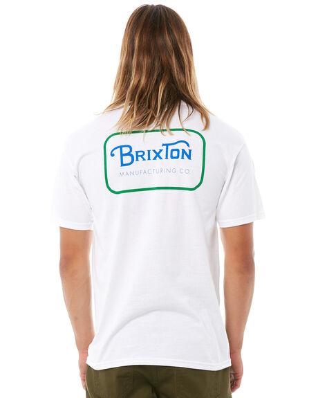 WHITE BLUE MENS CLOTHING BRIXTON TEES - 06251WHGRN