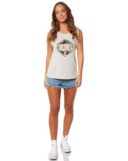 GREY HEATHER WOMENS CLOTHING HURLEY SINGLETS - AGSIHUFLRL05A