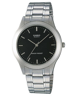 SILVER BLACK MENS ACCESSORIES CASIO WATCHES - MTP1128A-1A