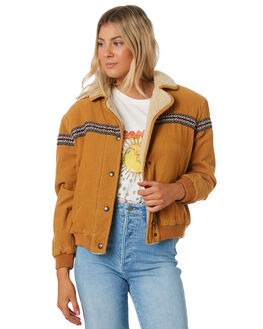 TAN CORD WOMENS CLOTHING WRANGLER JACKETS - W-951768-084