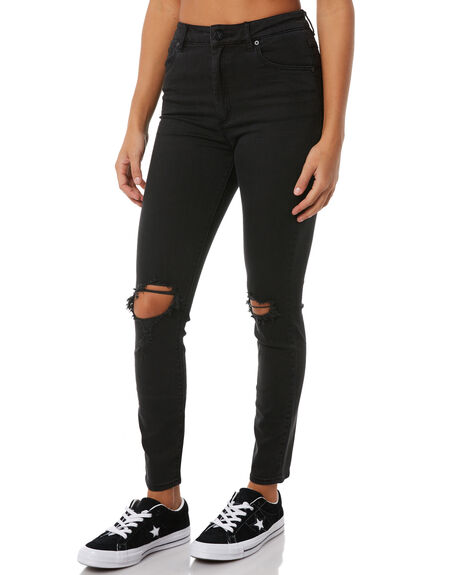 BUSER BLACK WOMENS CLOTHING A.BRAND JEANS - 70527-1778