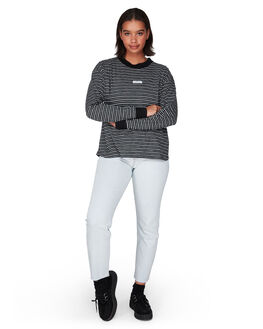 BLACK WOMENS CLOTHING RVCA TEES - R291091BLK