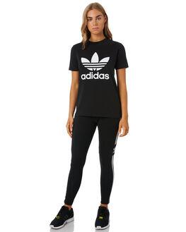 BLACK WHITE WOMENS CLOTHING ADIDAS TEES - CV9888BLK