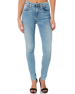 LIGHT BLUE WASH WOMENS CLOTHING NUDIE JEANS CO JEANS - 113140BLUE