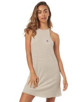 NATURAL STRIPE WOMENS CLOTHING THRILLS DRESSES - WTS7-921AZNSTR