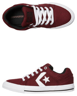 DEEP BORDEAUX WHITE KIDS GIRLS CONVERSE SKATE SHOES - 359792BOR