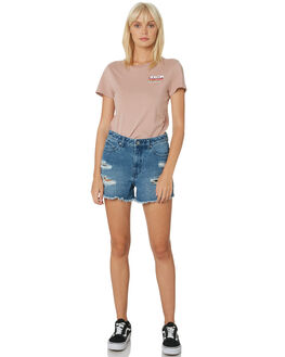 FADED MAUVE WOMENS CLOTHING VOLCOM TEES - B3531901FMV