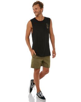 BLACK MENS CLOTHING RVCA SINGLETS - R183005BLK