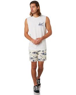 VINTAGE WHITE MENS CLOTHING DEUS EX MACHINA SINGLETS - DMS81658BVNWHT