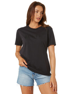 BLACK WOMENS CLOTHING RUSTY TEES - TTL1080BLK