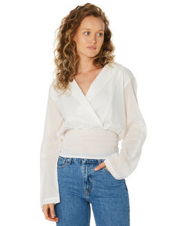 WHITE WOMENS CLOTHING ZULU AND ZEPHYR FASHION TOPS - ZZ2592WHI