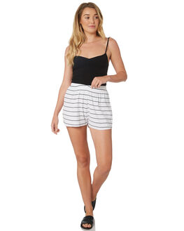 WHITE BLACK STRIPE WOMENS CLOTHING SWELL SHORTS - S8189232WHBLK