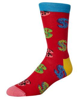 RED MENS CLOTHING HAPPY SOCKS SOCKS + UNDERWEAR - AWDOL01-4000RED