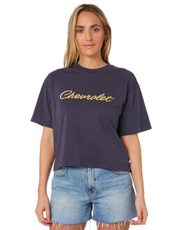 DELUXE NAVY WOMENS CLOTHING BRIXTON TEES - 02826DELNV