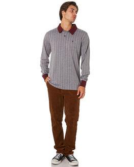 HEATHER GREY MAROON MENS CLOTHING BRIXTON SHIRTS - 02552HTGMR