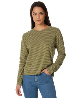 KHAKI WHITE STRIPE WOMENS CLOTHING ALL ABOUT EVE TEES - 6423018STR