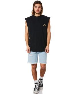 BLACK MENS CLOTHING RUSTY SINGLETS - MSM0243BLK