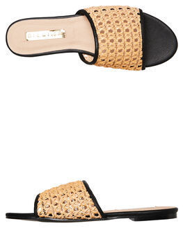CAMEL RATTAN BLACK WOMENS FOOTWEAR BILLINI SLIDES - S567CARBK