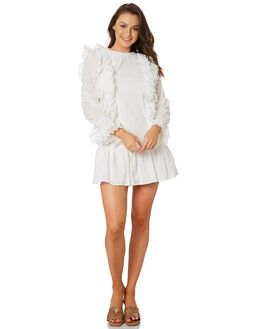 WHITE GEO ANGLAISE WOMENS CLOTHING STEVIE MAY DRESSES - SL190911DWHT