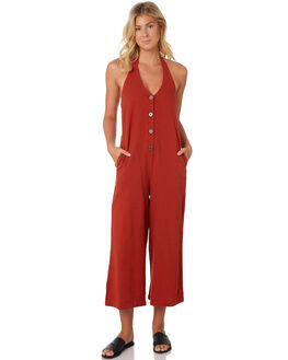 BURNT RED WOMENS CLOTHING RVCA PLAYSUITS + OVERALLS - R293754BRED
