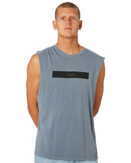 DUSTY BLUE MENS CLOTHING THRILLS SINGLETS - TS8-124EDUBLU