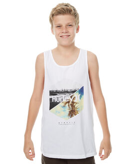 WHITE KIDS BOYS HURLEY SINGLETS - ABSISTHP10A