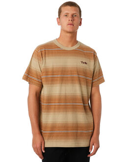 TAN FADE STRIPE MENS CLOTHING THRILLS TEES - TW9-116CZTANST