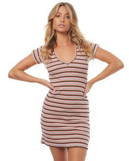 BLUSH STRIPE WOMENS CLOTHING STUSSY DRESSES - ST172514BLH