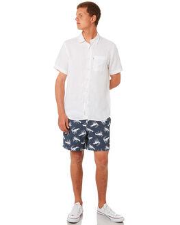 NAVY WHITE MENS CLOTHING ACADEMY BRAND BOARDSHORTS - 19S729NVWH