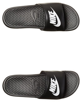 BLACK WHITE WOMENS FOOTWEAR NIKE SLIDES - SS343880-090W