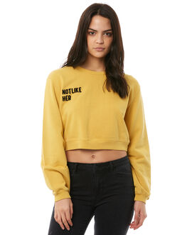 FADED MUSTARD WOMENS CLOTHING AFENDS JUMPERS - W181500FMUS
