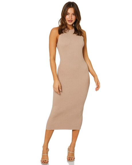 MOCHA WOMENS CLOTHING NUDE LUCY DRESSES - NU24225MOCHA