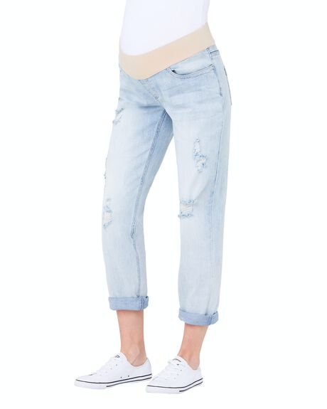 CLEAN FADE WOMENS CLOTHING RIPE MATERNITY JEANS - S3253-CLEANFADE-XS