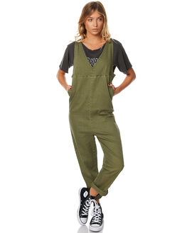 ARMY GREEN WOMENS CLOTHING THRILLS PLAYSUITS + OVERALLS - WTA7-910FGRN
