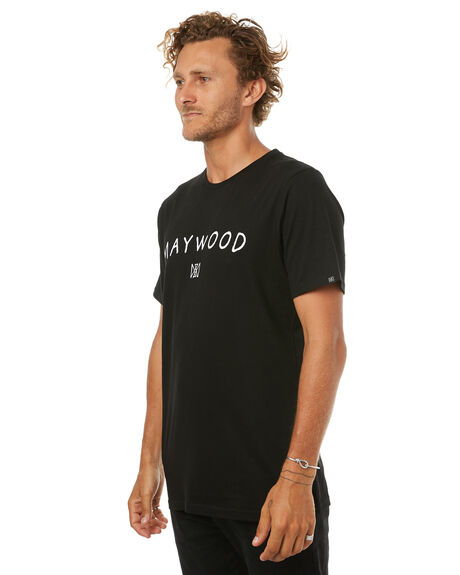 BLACK WHITE MENS CLOTHING MAYWOOD TEES - MTE706BLK