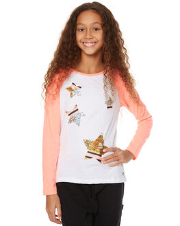 WHITE NEON CORAL KIDS GIRLS EVES SISTER TEES - 9990083WHT