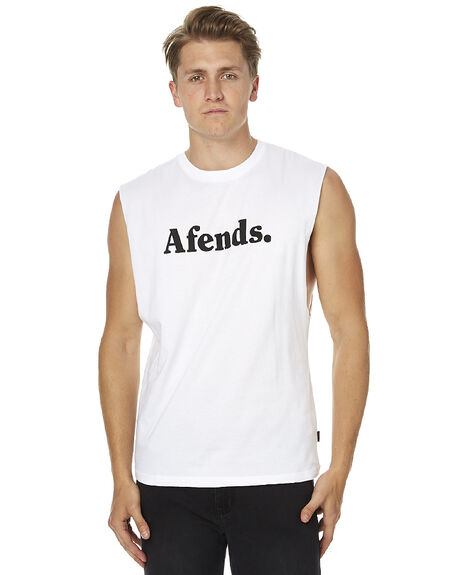 WHITE MENS CLOTHING AFENDS SINGLETS - 01-08-018WHT