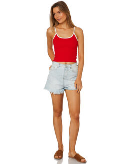 RED WOMENS CLOTHING ALL ABOUT EVE SINGLETS - 6405045RED