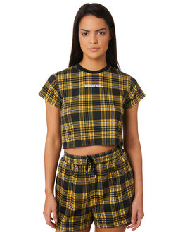 BLACK CHECK WOMENS CLOTHING STUSSY TEES - ST183103BLKCH